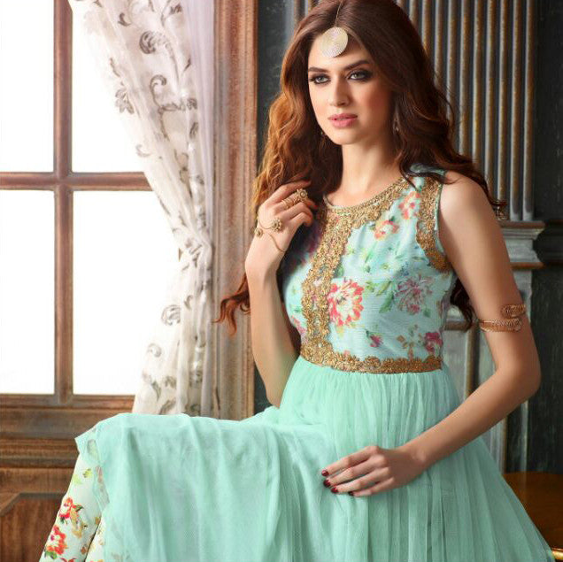 Turquoise Blue Designer Net Embroidered Indo-Western Gown-Saira's Boutique