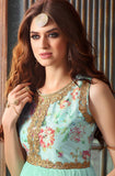 Turquoise Blue Designer Net Embroidered Indo-Western Gown