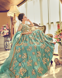 Turquoise Blue & Gold Designer Embroidered Net Bridal Anarkali Gown-Saira's Boutique