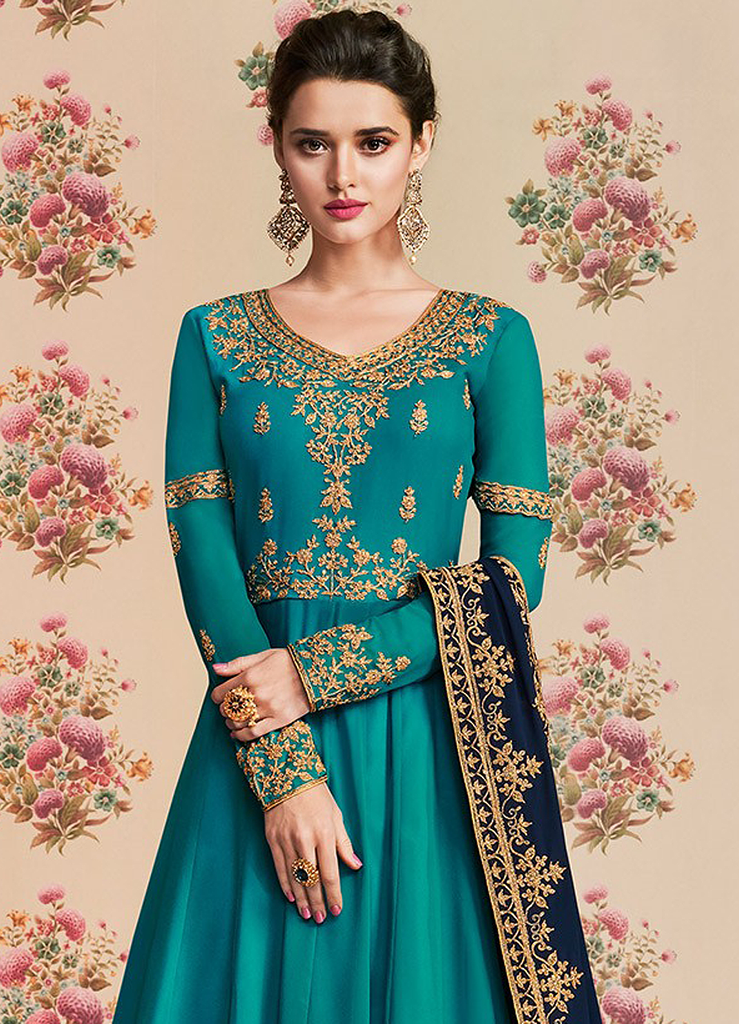 Turquoise Designer Embroidered Georgette Wedding Anarkali Suit-Saira's Boutique