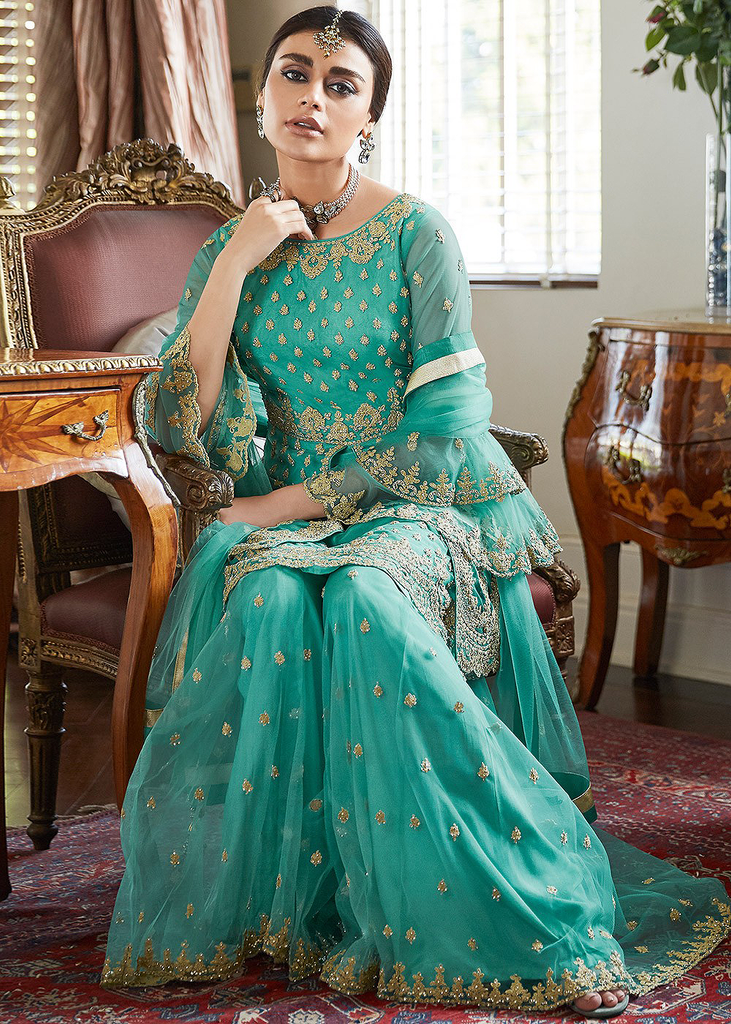 Turquoise Designer Heavy Embroidered Net Wedding Sharara Suit-Saira's Boutique