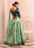 Turquoise & Navy Blue Designer Embroidered Silk Lehenga-Saira's Boutique