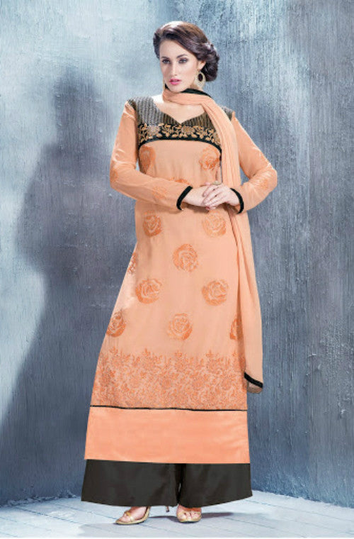 Peach Georgette Embroidered Straight Suit-Saira's Boutique