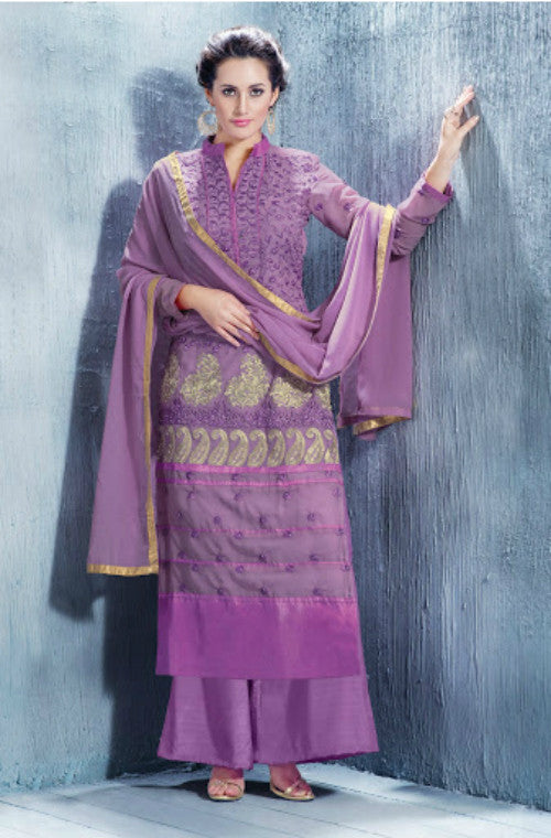 Purple Georgette Embroidered Straight Suit-Saira's Boutique