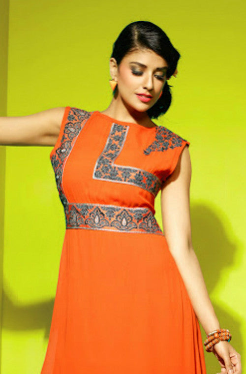 Orange Embroidered Faux Georgette Kurti - Saira's Boutique