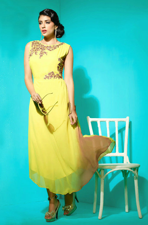 Yellow Embroidered Faux Georgette Kurti - Saira's Boutique