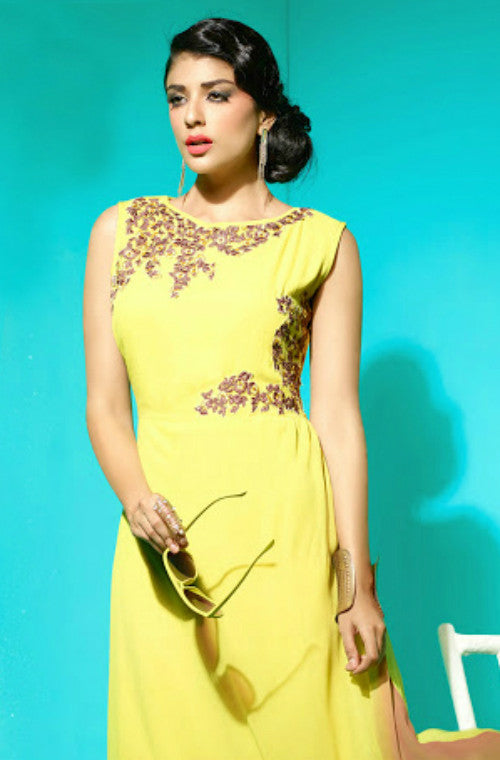 Yellow Embroidered Faux Georgette Kurti-Saira's Boutique