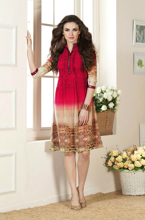 Red & Beige Printed Faux Georgette Kurti-Saira's Boutique