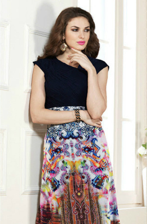 Multicolored Printed Faux Georgette Kurti - Saira's Boutique