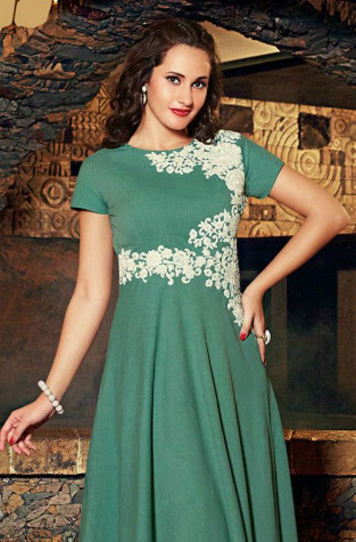 Green Embroidered Linen Kurti - Saira's Boutique