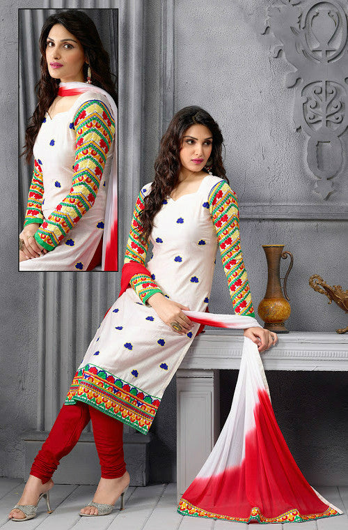 White & Red Chanderi Cotton Churidar Suit-Saira's Boutique
