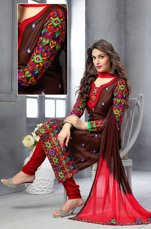 Brown & Red Chanderi Cotton Churidar Suit - Saira's Boutique