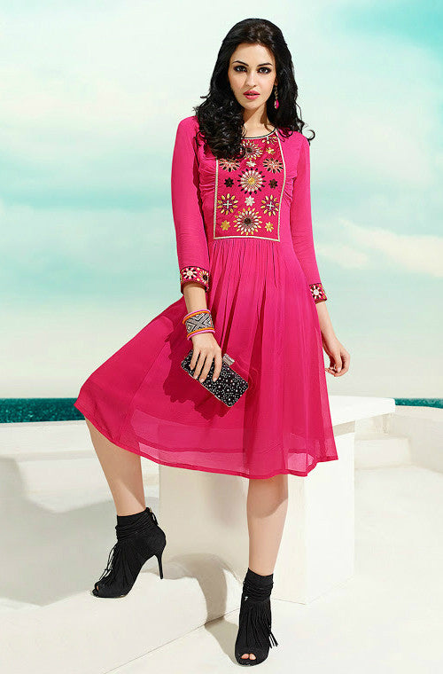 Pink Embroidered Georgette Kurti-Saira's Boutique