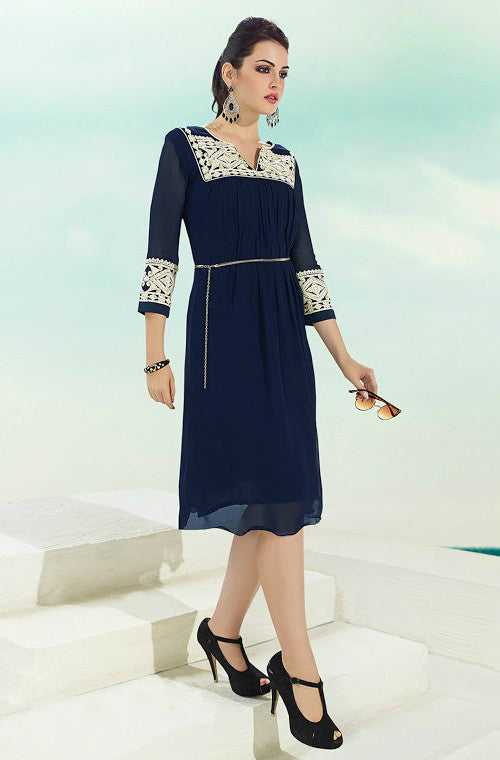 Navy Blue Embroidered Georgette Kurti - Saira's Boutique