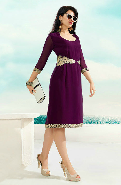 Purple Embroidered Georgette Kurti - Saira's Boutique