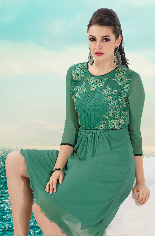 Green Embroidered Georgette Kurti - Saira's Boutique