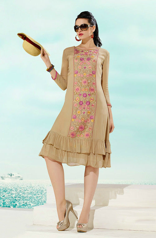 Beige Designer Embroidered Georgette Kurti - Saira's Boutique