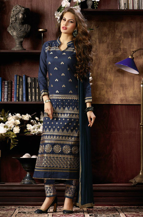 Navy Blue Leon Embroidered Pant Suit - Saira's Boutique