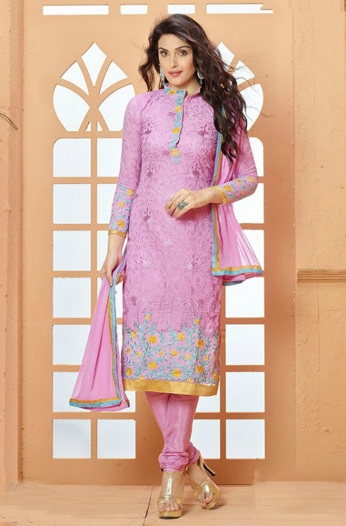 Violet Georgette Embroidered Churidar Suit - Saira's Boutique
