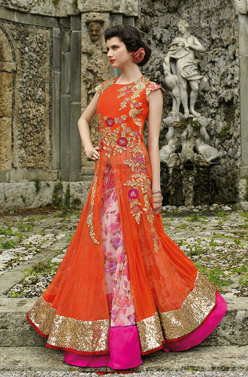 Orange Designer Embroidered Net Gown - Saira's Boutique