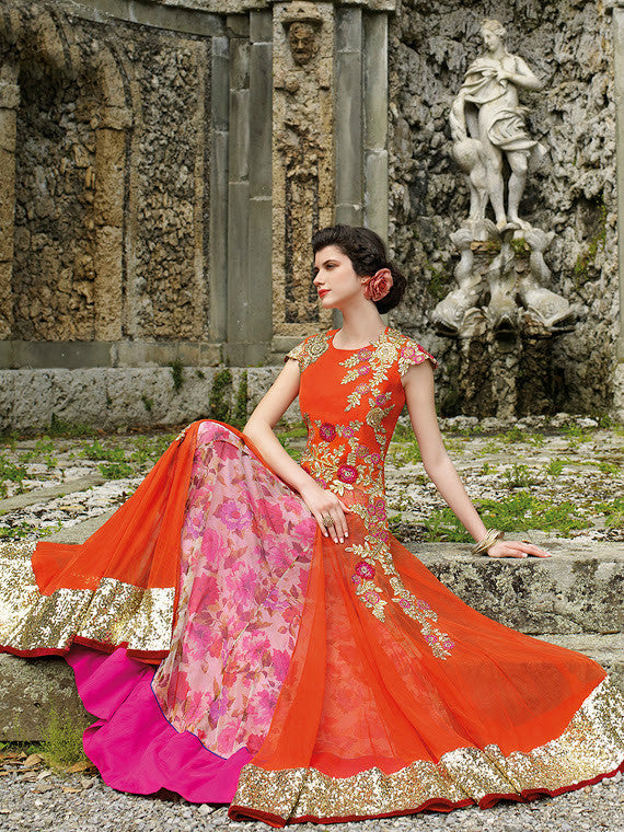 Orange Designer Embroidered Net Gown-Saira's Boutique