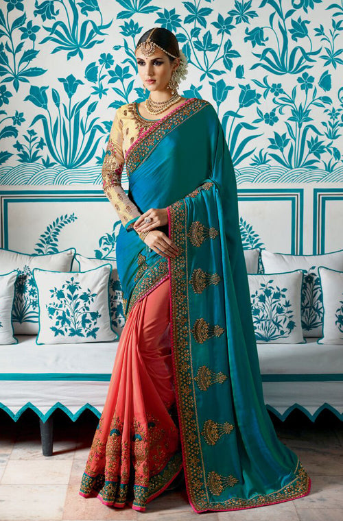 Watermelon Pink & Blue Designer Embroidered Bridal Silk Saree-Saira's Boutique