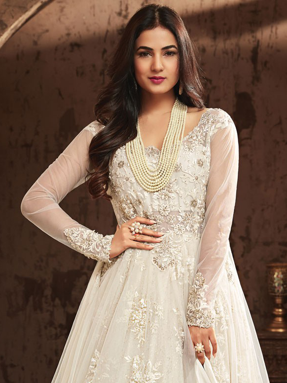 White Designer Heavy Embroidered Net Wedding Anarkali Gown-Saira's Boutique
