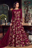 Wine Designer Heavy Embroidered Net Bridal Anarkali Gown-Saira's Boutique