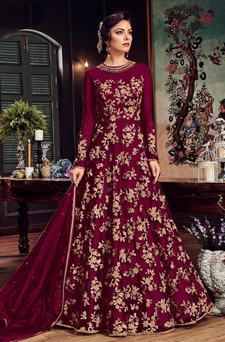 Burnt Red Designer Embroidered Taffeta Silk Party Wear Gown