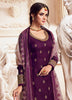 Wine Purple Designer Embroidered Satin Georgette Sharara Suit-Saira's Boutique