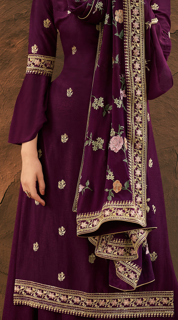 Wine Purple Designer Embroidered Silk Party Wear Palazzo Suit-Saira's Boutique