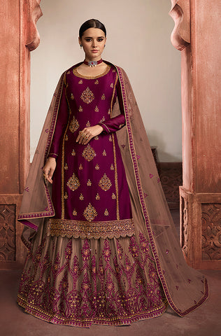 Beige & Maroon Designer Heavy Embroidered Net Wedding Lehenga