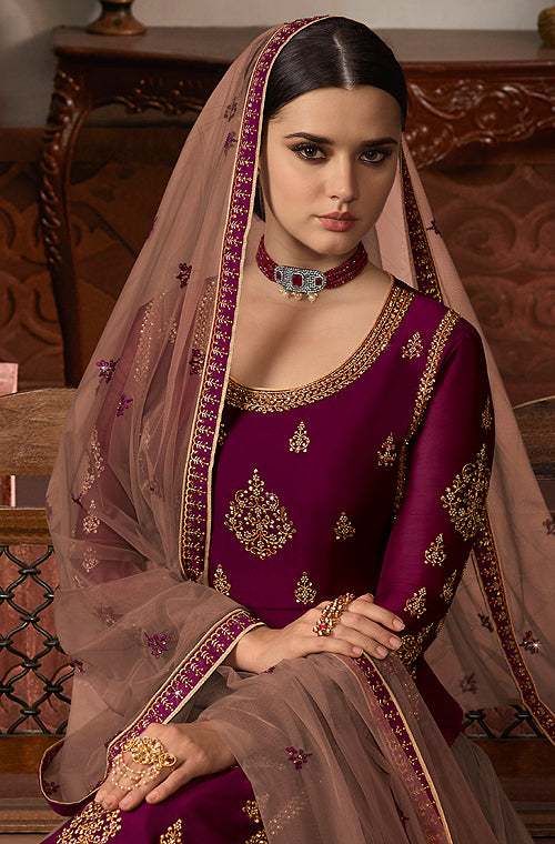 Wine Purple & Taupe Designer Embroidered Kurti Style Lehenga-Saira's Boutique