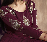 Wine Designer Embroidered Readymade Anarkali Style Palazzo Suit-Saira's Boutique