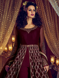 Wine Designer Embroidered Silk Wedding Anarkali Suit-Saira's Boutique