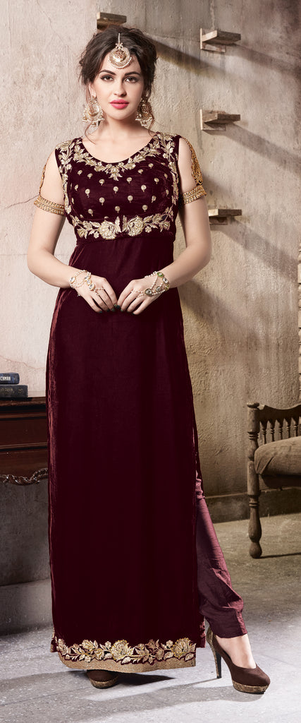 Wine Designer Embroidered Velvet Party Wear Pant Suit
