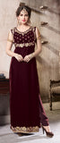 Wine Designer Embroidered Velvet Party Wear Pant Suit-Saira's Boutique