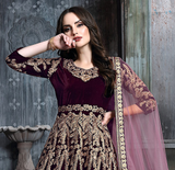 Wine Designer Heavy Embroidered Velvet Wedding Anarkali Suit-Saira's Boutique