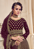 Wine & Gold Designer Heavy Embroidered Wedding Sharara Suit-Saira's Boutique