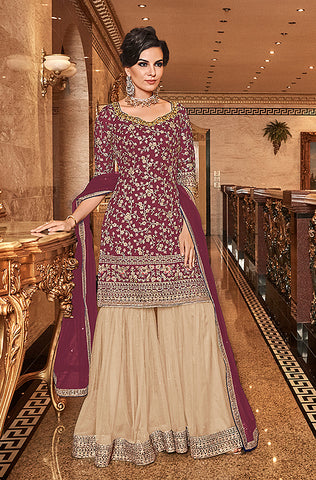 Navy Blue Designer Embroidered Georgette Sharara Suit