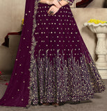 Wine Purple Designer Heavy Embroidered Georgette Wedding Anarkali Suit-Saira's Boutique