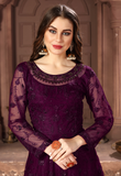 Wine Purple Designer Heavy Embroidered Net Wedding Anarkali Suit-Saira's Boutique