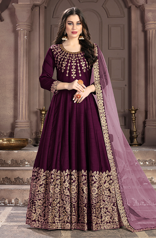 Wine Purple Designer Heavy Embroidered Net Wedding Anarkali Suit