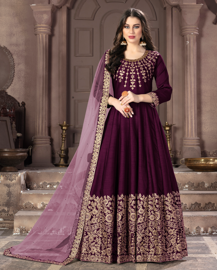 Wine Purple Designer Heavy Embroidered Silk Wedding Anarkali Suit-Saira's Boutique