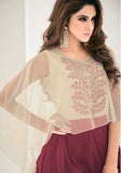 Wine Red & Cream Designer Embroidered Georgette Kurti
