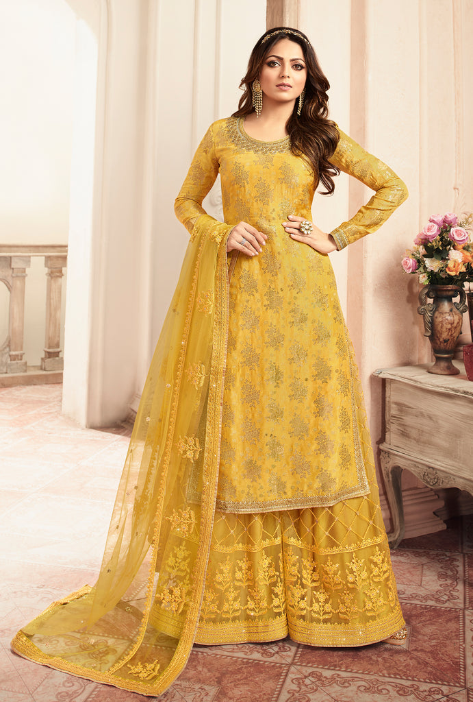 Yellow Designer Embroidered Jacquard Sharara Suit-Saira's Boutique
