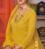 Yellow Designer Heavy Embroidered Georgette Anarkali Suit-Saira's Boutique