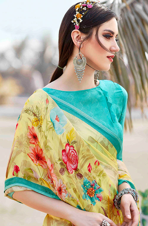 Yellow & Blue Designer Floral Print Fancy Georgette Saree-Saira's Boutique