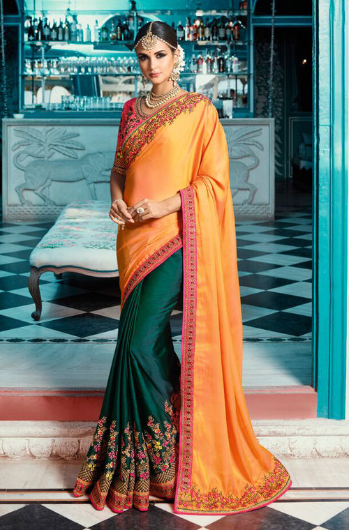 Yellow & Dark Green Designer Embroidered Bridal Silk Saree
