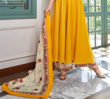 Yellow Designer Embroidered Party Wear Anarkali Style Palazzo Suit-Saira's Boutique